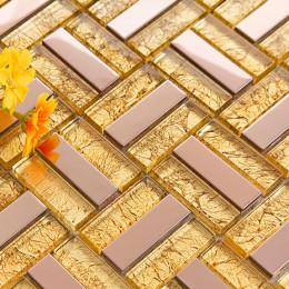 Rose Gold Stainless Steel Tiles and Golden Crystal Glass Backsplash Metallic Tile Shower Wall Decor