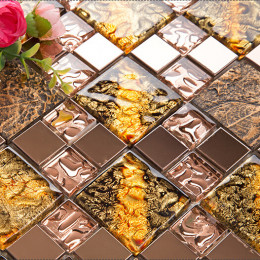 Gold / Brown / Copper Glass and Stainless Steel Tile 3D Leaf Pattern Ceramic Mosaic Backsplash