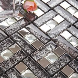 Silver Stainless Steel Backsplash Tile Brown Glass Mosaic Diamond-Shaped Crystal Bathroom Wall Tiles