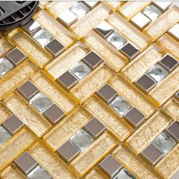 Silver Stainless Steel Backsplash Tile Gold Glass Mosaic Diamond-Shaped Crystal Bathroom Wall Tiles