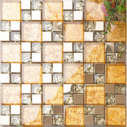 Gold Stainless Steel Tiles and Crystal Glass Backsplash Mosaic Tile Shower Bathroom Wall Decor