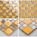 Gold Stainless Steel Tiles and Crystal Glass Backsplash Mosaic Tile Shower Bathroom Wall Decor