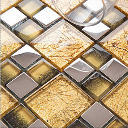 Silver and Gold Kitchen Backsplash Glass Tile, Small Square Tiles Bathroom Floor and Wall Tiles