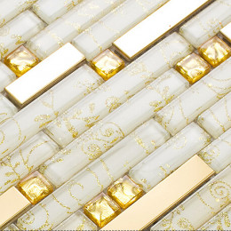 Gold Stainless Steel Tiles and Crystal Backsplash White Glass Mosaic Tile Shower Bathroom Wall Decor