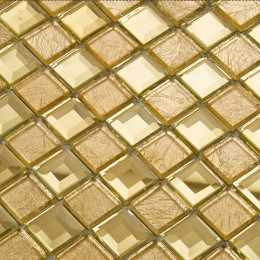 Gold Mirror Glass Backsplash Tile Clear Crystal Mosaic Bathroom Mirrored Backsplashes