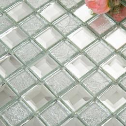 Silver Mirror Glass Backsplash Tile Clear Crystal Mosaic Bathroom Mirrored Backsplashes