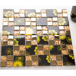 Coated Glass Mosaic Black and Clear Gold Backsplash Tiles Glam Kitchen and Bathroom Wall Tile