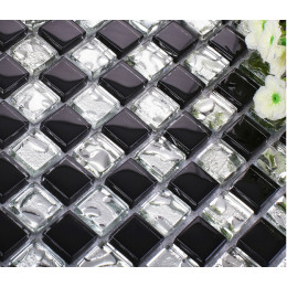 Black Glass Backsplash Tile Silver Clear Crystal Mosaic Wall Tiles Modern Bathroom Accent Tiles