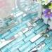 Silver Stainless Steel Tile Aqua Glass Backsplash Crystal Diamond Mosaic Bathroom Shower Wall Tiles
