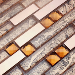 Rose Gold Stainless Steel Tile Crystal Glass Backsplash Metallic Tiles Rhinestone Mosaic Bathrooms
