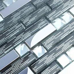 Silver Stainless Steel Tile Black Crystal Glass Backsplash Metallic Tiles Rhinestone Mosaic Bathrooms
