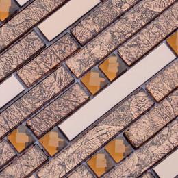 Rose Gold Stainless Steel and Glass Backsplash Tiles Crystal Rhinestone Mosaic Metallic Tile Interlocking