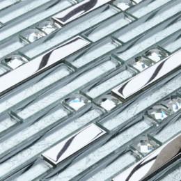 Silver Stainless Steel and Glass Backsplash Tiles Crystal Rhinestone Mosaic Metallic Tile Interlocking