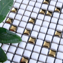 White Porcelain Mosaic Gold Coated Ceramic Tile Backsplash Small Wall Tiles Bathroom