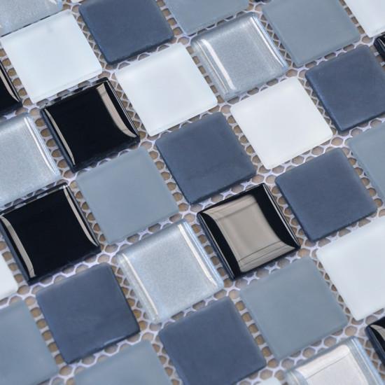 Gray Blue Glass Mosaic Tile for Bathroom Walls Slip-Resistant Shower Floor Tile Splash Boards for Kitchens