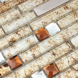 Silver Stainless Steel Tile Brown Glass Backsplash Tiles Tea Crystal Rhinestone Mosaic Metallic Tile