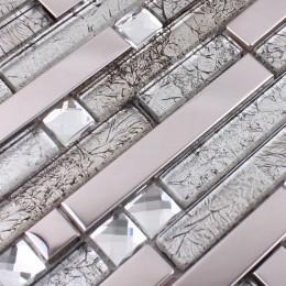 Silver Stainless Steel Tile Brown Glass Backsplash Tiles Crystal Rhinestone Mosaic Metallic Tile