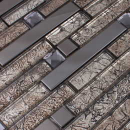 Brown Stainless Steel Metal and Glass Backsplash Tiles Crystal Rhinestone Mosaic Metallic Tile