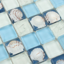 Blue and White Glass Mosaic Backsplash Crackle Crystal Kitchen Tile Resin Shell Bathroom Wall Tiles