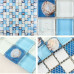 Blue and White Glass Mosaic Backsplash Crackle Crystal Kitchen Tile Resin Shell Bathroom Wall Tiles