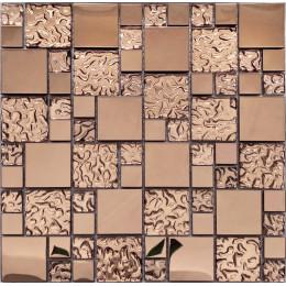 Glass Mix Metal Tile Rose Gold Stainless Steel Mosaic Backsplash Kitchen Bath Accent Wall Decor