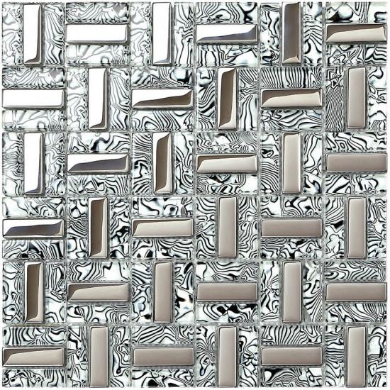 Silver Stainless Steel Tile Backsplash Black and White Randomly Striped Glass Mosaic Wall Tiles