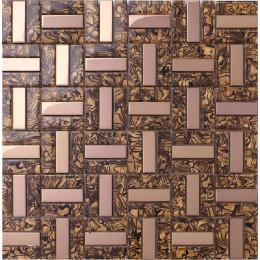 Rose Gold Stainless Steel Tile Backsplash Randomly Striped Glass Mosaic Tiles for Glam Bathroom