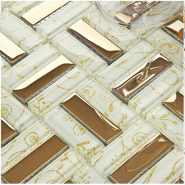 Gold Stainless Steel Tile Backsplash Randomly Striped Glass Mosaic Tiles Bathroom Wall