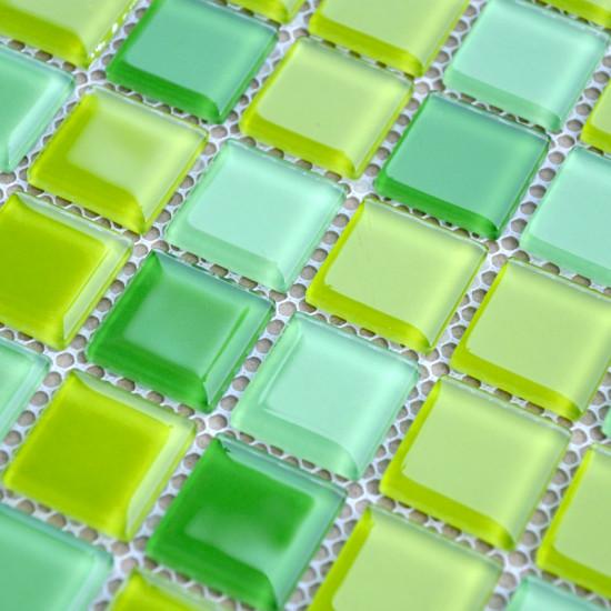 Green Glass Mosaic Glossy Tile Modern Backsplash Square Tiles for Bathroom Swimming Pool