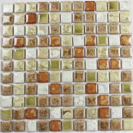 Brown / White / Green Porcelain Tiles Kitchen Backsplash Glazed Ceramic Modern Tile for Bathrooms