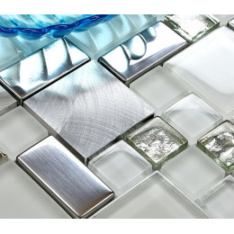 Silver Stainless Steel Tile White Crystal Glass Backsplash Metallic Mosaic Bathroom Wall Tiles
