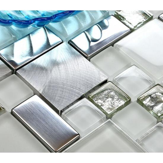 Silver Stainless Steel Tile White Crystal Glass Backsplash Metallic Mosaic Bathroom Wall Tiles