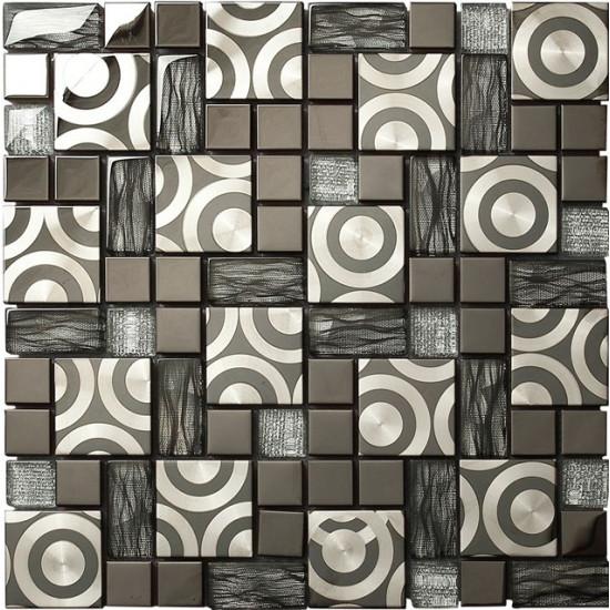 Black Glass and Stainless Steel Blend Tile Brushed Metal Circle Patterns Striped Crystal Backsplash Tiles
