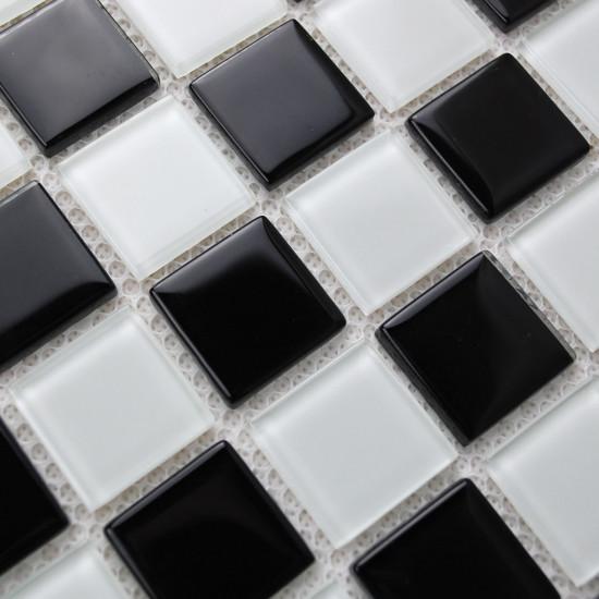 Black and White Glass Mosaic Tiles Affordable Kitchen and Bathroom Backsplash Swimming Pool Tile