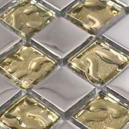 Gold Clear Crystal Backsplash Silver Coated Glass Mosaic Accent Bathroom Tile Kitchen Back Splashes