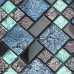 Black Stainless Steel Metal Tile Colorful Crystal Glass Backsplash Tiles Bathroom Mosaic Metallic Tile