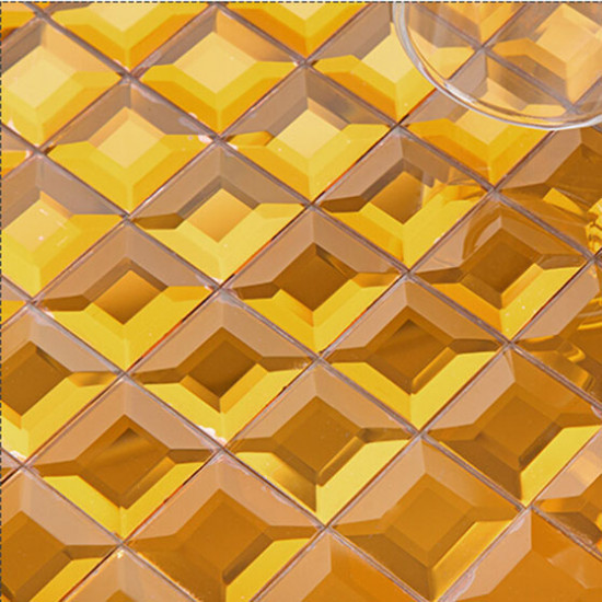 Gold Mirror Glass Backsplash Modern 3d Crystal Tile Bathroom Mirrored Wall Tiles 5 Side Pyramid Designs