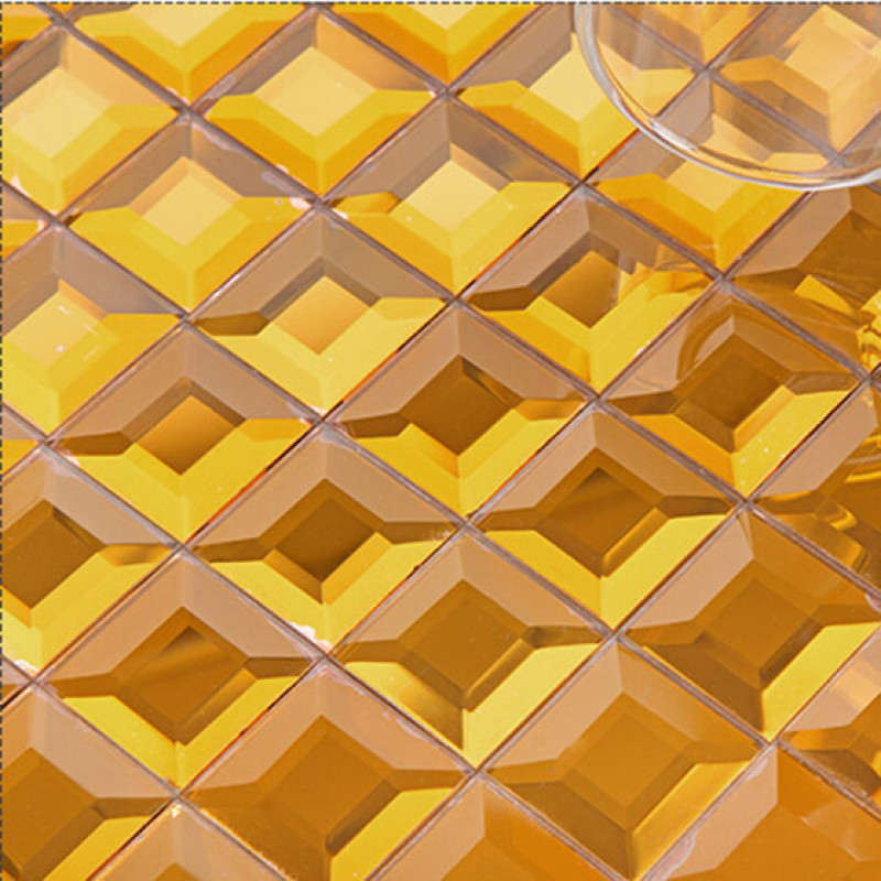 Gold Mirror Glass Backsplash Modern 3d Crystal Tile Fifyh Com