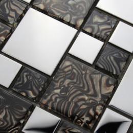 Silver Stainless Steel Tile Black Crystal Glass Backsplash Tile Shiny Metallic Mosaic Bathroom Tiles