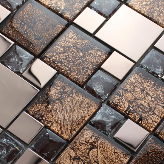 Rose Gold Stainless Steel Tile Brown Glass Mosaic Crackle Crystal Backsplash Bath Wall Tiles