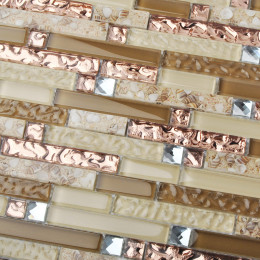 Brown and Rose Gold Glass Mosaic Silver Crystal Diamond Tile Resin Conch Bathroom Tiles