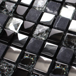 Black Marble Mosaic Tile Silver Coated Glass Backsplash Cracked Crystal Bathroom and Kitchen Tiles