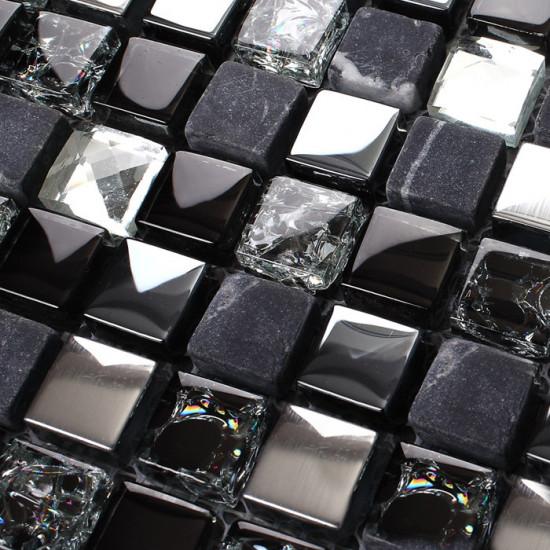 Black Marble Mosaic Tile Silver Coated Glass Backsplash Cracked Crystal Bathroom and Kitchen Tiles