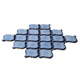 Blue Ceramic Mosaic Waterjet Tile Lantern Arabesque Matte Porcelain Backsplash Wall and Floor Tiles