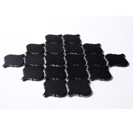 Black Ceramic Mosaic Waterjet Tile Lantern Arabesque Porcelain Backsplash Wall and Floor Tiles