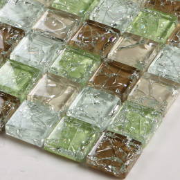 Crackled Glass Mosaic Glossy Tile Multi Colored Crystal Backsplash in Kitchen and Bathroom