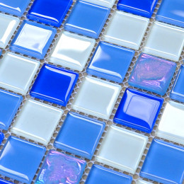 Blue Glass Mosaic Glossy Tile Modern Backsplash Square Tiles for Bathroom Swimming Pool