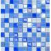 Blue Glass Mosaic Glossy Tile Modern Backsplash Square Tiles for Bathroom Swimming Pool