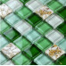 Green and White Glass Mosaic Backsplash Crystal Kitchen Tile Clear Resin Conch Bathroom Wall Tiles