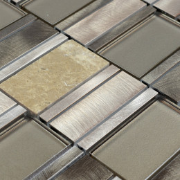 Silver Brushed Aluminum Tile Brown Crystal Glass Mosaic and Textured Stone Tiles Bath Wall Decor